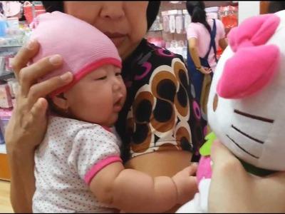Baby Faith meets Hello Kitty Funny!