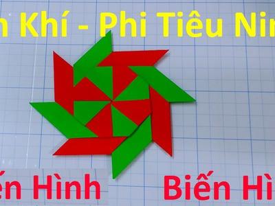 Cách gấp phi tiêu (ám khí) Ninja Bằng giấy - Có thể biến hình (kiểu 1 - origami)