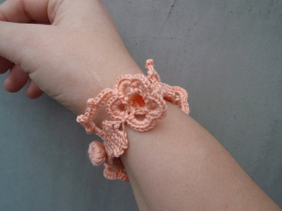 Crochet Bracelet with flower and leaf