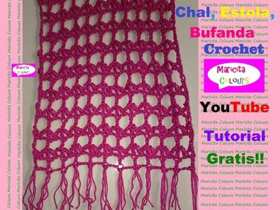 "Crochet Chal, Tapado, Estola ""Emi"" por Maricita Colours Tutorial Gratis!"