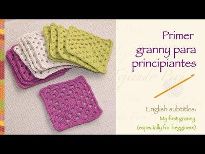 Crochet granny for beginners!. Primer granny tejido a crochet para principiantes!
