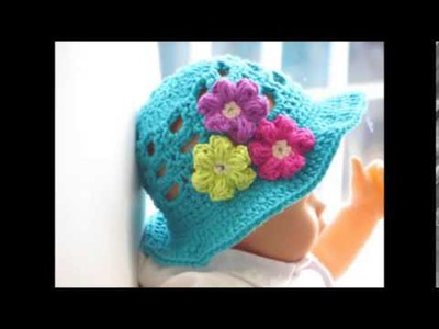 Crochet Sun Hat for Girls and Boys, Newborn to 10 years