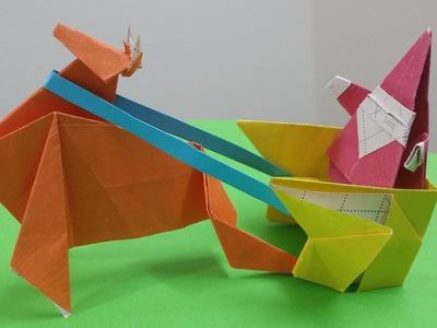 Hướng dẫn cách gấp Con Tuần Lộc kéo xe - Trang trí Tết, Noel - Xếp giấy Origami