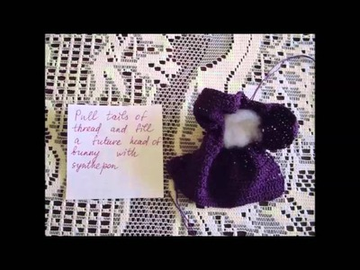 How to make a bunny from a knitted or crocheted square