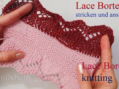 Lace Bordüre stricken und anstricken - Knitting on Lace Border 4