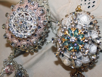 Lace Jeweled Altered Egg Ornaments - Simple DIY