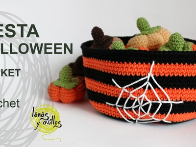 Tutorial Cesta Halloween Crochet o Ganchillo Basket