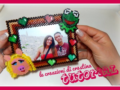 Tutorial Cornicetta Muppets - Kermit the Frog & Miss Piggy con Hama beads - www.perlinedastirare.it