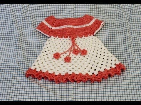 Vestido em crochê infantil para bebê  Parte 2 Crochet dress - Ganchillo Vestido ninã