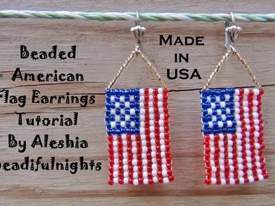 Beaded American Flag Earrings Tutorial