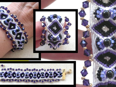 Beading4perfectionists : Diamond micro-macrame bracelet with Swarovski macrame tutorial part 1