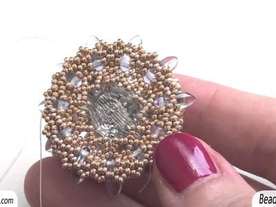 BeadsFriends: Beaded pendant - Beaded bezel crystal, made using Seed beads, Delicas and Daggers