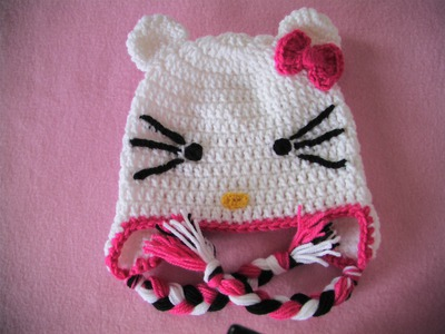 Πλεκτο Σκουφακι Hello Kitty (4o μερος). Hello Kitty Crochet Hat Tutorial (part 4)