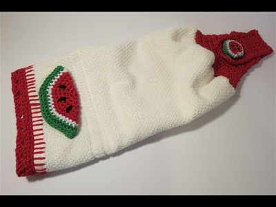 Crochet Decorating Towel Watermelon 1 إضافة الكروشيه للمناشف بطيخ