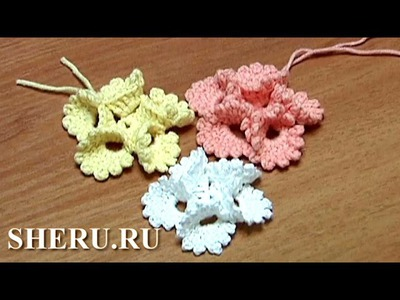 Crochet Round Petals Flower Tutorial 13 Вязание Цветов