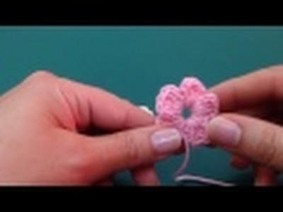 طريقة عمل الوردة البسيطة كروشيه . Easy Crochet Flower