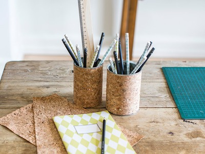 DIY - Create a pencil holder with cork paper