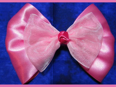 DIY-How to make a Hair Bow No.5 - Free Tutorial - Large 5inch pink ribbon hair bow