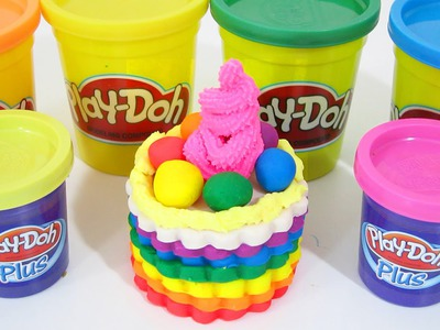 Play Doh Rainbow Cake Strawberry Frosting | Fun & Easy DIY Play Doh How To with Play Dough Plus!