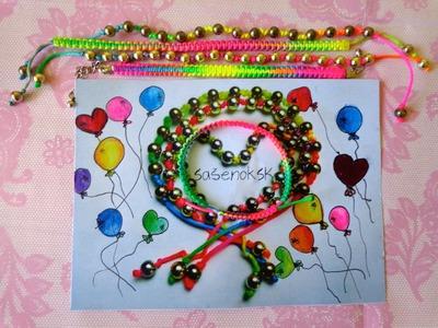 Ako si vyrobiť dúhový náramok. DIY rainbow bracelet tutorial :)