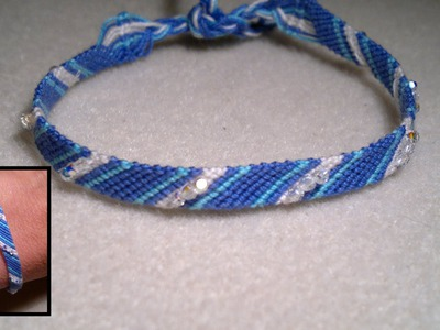 Beading4perfectionists : Micro Macrame friendship bracelet with stripes for beginners tutorial
