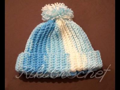 Πλεκτο Ευκολο Σκουφακι. Crochet Ribbed Hat Tutorial