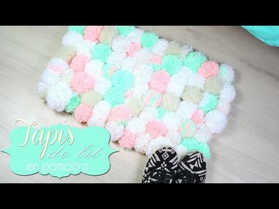 DIY - FACILE : TAPIS EN POMPONS. TAPIS DE LIT COCOONING - pompom rug (english subs)