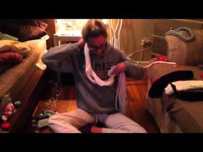 DIY half braided t-shirt scarf