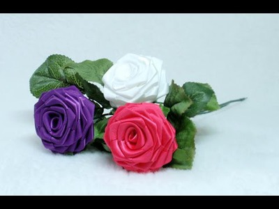 DIY, How to make Ribbon Rose, Taller, Tutorial, DIY