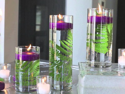 DIY Ideas: Spruce Up Your Space With Purple Floating Candles and Fern!!