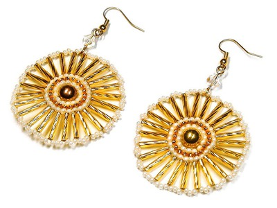 DIY: Round bead earrings. Круглые серьги из бисера (мастер-класс)