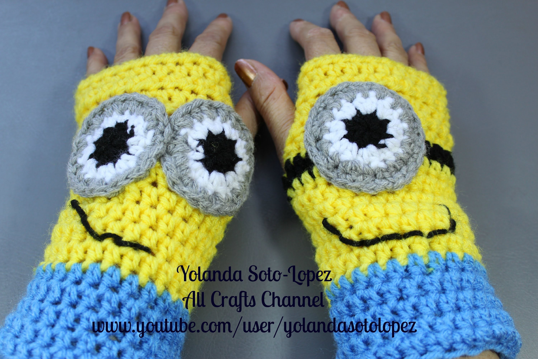 Guantes sin dedos en #Crochet - inspirados por Despicable Me - Minions