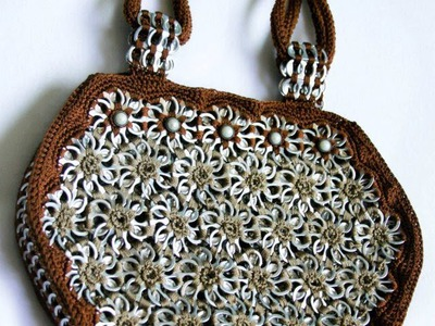 "How to crochet a handbag with soda pop tabs: ""Queta Purse"" part 3"