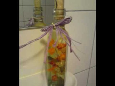 Re-using. re-purposing bottles  (a DIY bathroom decor)