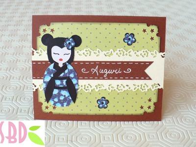 Scrapbooking tutorial: Card Auguri Geisha