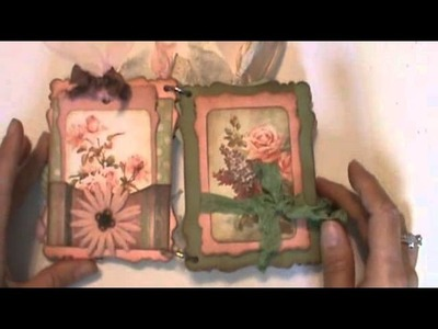 Shabby Chic Victorian chipboard mini scrapbook for Tina!