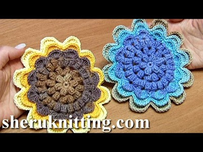 Sunflower Crochet How to Tutorial 48 Part 2 of 2 belle fleur au crochet