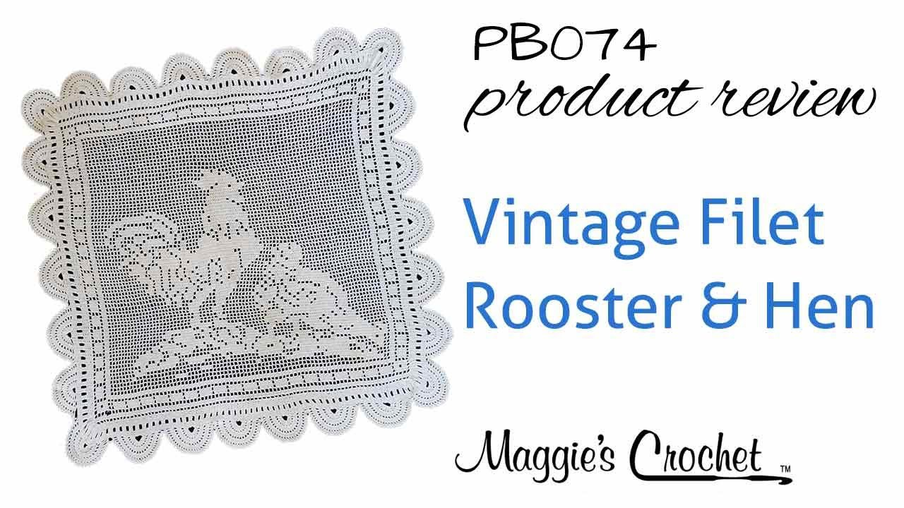 Vintage Filet Rooster & Hen Crochet Pattern Product Review PB074