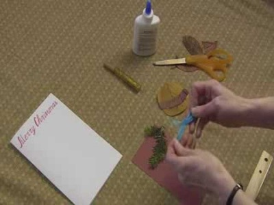 Christmas tree decoration: Art and Crafts for kids: How to make Christmas card with dry leaves