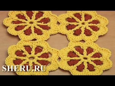 Crochet Motifs For Baby Blanket Урок 43 часть 2 из 2 Цветочный мотив для детского изделия