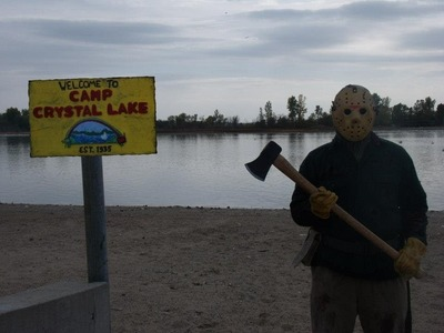 DIY Camp Crystal Lake sign video from Jhayner03 featuring Custom Jason Voorhees costume