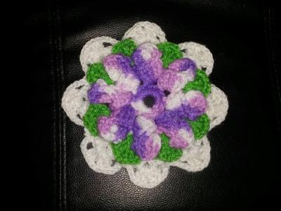 Flor de 8 petalos a crochet