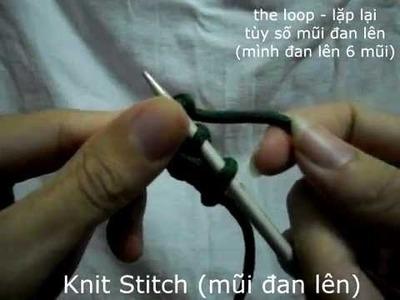Hướng dẫn đan mũi lên đan len cơ bản (How to Knit the basics - Knit Stitch) ✔