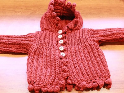 How to knit brioche stitch Baby cardigan. Selanik Bebek Hırkası Yapılışı