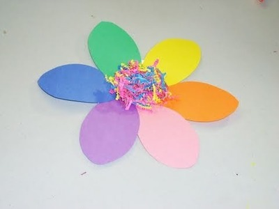 How to make a rainbow construction paper flower - EP