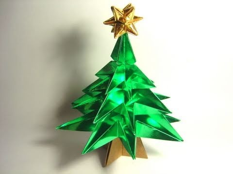 Origami Christmas Tree (variation NO glue!)