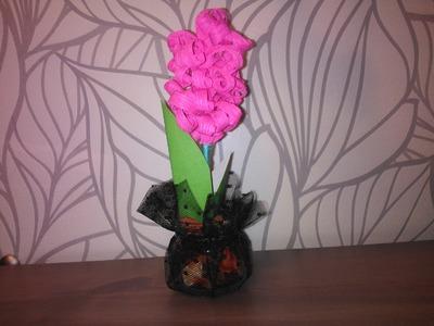 Поделки из гофрированной бумаги Цветок Гиацинт Crafts paper Flower Handemade