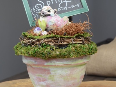 Spring Craft ~ Birds Nest in Terra Cotta Pot