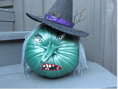 Wicked Witch Painted Pumpkin Halloween Craft