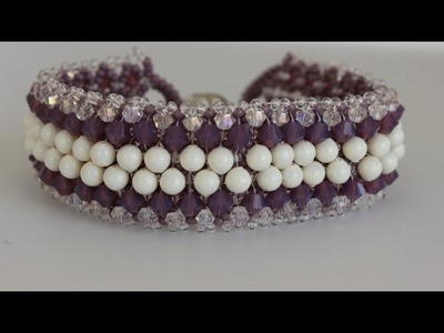 Beaded Bracelet  with 3mm and 4mm pearls and bicones. Браслет из бисера жемчуга и биконусов
